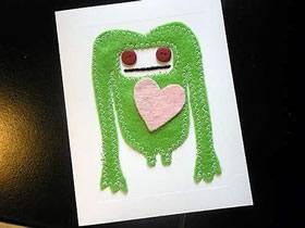 怎么做卡通情人节贺卡 小怪物情人节卡片制作