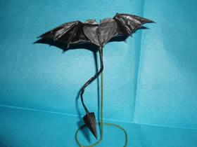 怎么折纸恶魔心图解 手工蝙蝠翅膀爱心折法