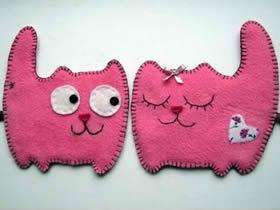 怎么做卡通猫咪挂件图解 不织布制作小猫挂饰