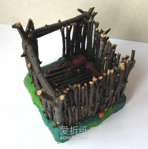 怎么做小木屋的方法 树枝手工制作小房子- www.aizhezhi.com