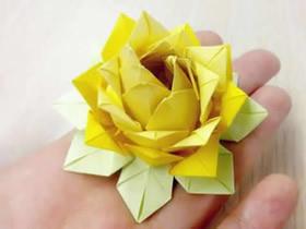 怎么折纸祈福莲的方法 手工立体莲花折法图解