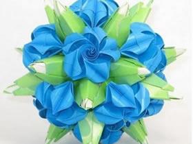 怎么做绿萝魔灵花球图解 手工绿萝花球的折法