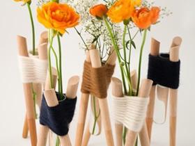 怎么做创意玻璃花瓶 木棍绑试管制作花瓶图片
