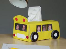 怎么改造纸巾盒的方法 儿童手工制作校车纸巾盒