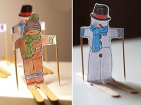 怎么做可爱纸片小人 卡纸冰棍棒制作立体小人