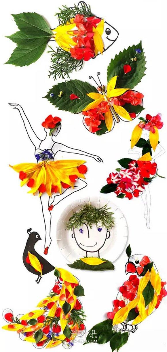 简单手工花制作方法_怎么做鲜花拼贴画图解 花朵手工制作拼画图片_爱折纸网