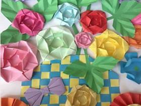 怎么折纸蔷薇花图解 手工立体蔷薇花的折法