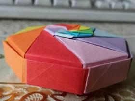 怎么折纸彩虹盒子图解 八角形带盖盒子的折法