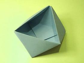 怎么折纸三角形纸盒 多面体垃圾盒的折法图解