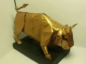 怎么折纸立体的公牛 手工复杂公牛的折法图解