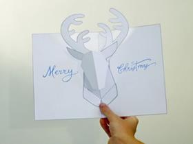 怎么做圣诞麋鹿贺卡 卡纸制作圣诞节立体贺卡