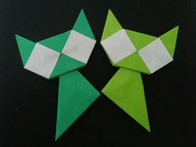 怎么折纸格子猫图解 手工卡通猫符号的折法
