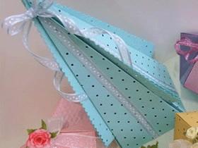 怎么折纸喜糖盒图解 手工金字塔形包装盒折法