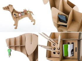 怎么做有创意的收纳架 瓦楞纸制作狗狗收纳架