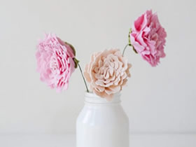 怎么做不织布牡丹花 手工布艺牡丹花插花饰品