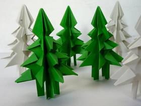 怎么简单折纸圣诞树 带树干立体圣诞树折法