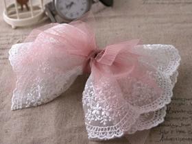 怎么做蕾丝蝴蝶结发卡 纱布手工制作很仙发饰
