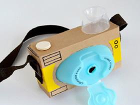 怎么做儿童玩具相机 废纸盒和瓶盖制作相机