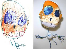 怎么做有创意的布偶 用布把孩子的涂鸦做出来