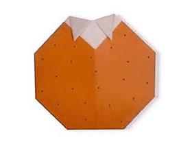 怎么简单折纸柿子图解 幼儿园手工柿子的折法