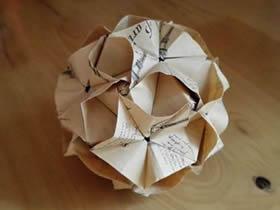 怎么折纸漂亮纸花球 详细手工花球折法步骤