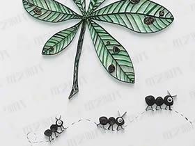 怎么做关于秋天的衍纸画 手工衍纸落叶和蚂蚁