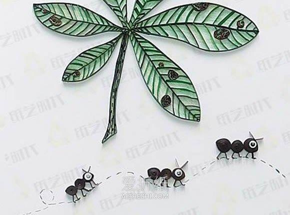 幼儿园黑色卡纸儿童画_怎么做关于秋天的衍纸画 手工衍纸落叶和蚂蚁_爱折纸网