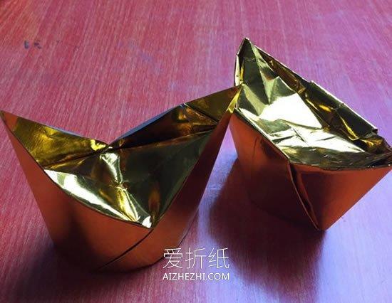 三角折纸笔筒_怎么折纸金元宝的方法 简单手工元宝的折法_爱折纸网