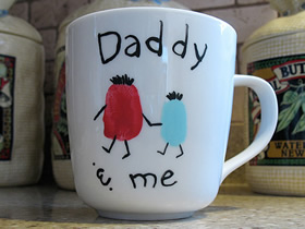 """怎么做创意父亲节礼物 """"爸爸和我""""陶瓷杯DIY"""
