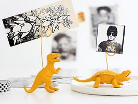 怎么旧物利用做便签夹 旧恐龙玩具制作便签夹