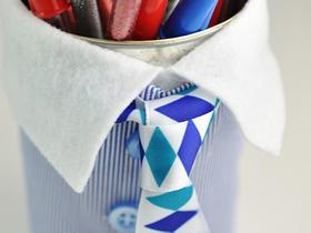 怎么做父亲节礼物笔筒 奶粉罐制作衣服笔筒