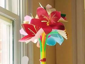 怎么简单做百合花的方法 手工制作纸百合插花