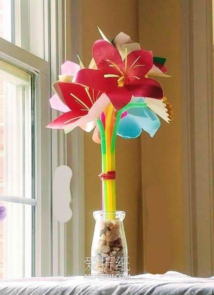 怎么简单做百合花的方法 手工制作纸百合插花_爱折纸网 最新折纸方法