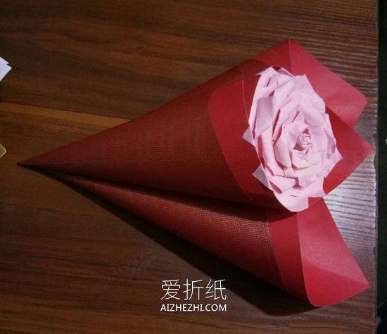 怎么简单做纸玫瑰花 彩纸手工制作玫瑰花过程_爱折纸网 最新折纸方法