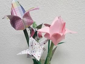 怎么做母亲节礼物纸花 折纸郁金香做母亲节插花