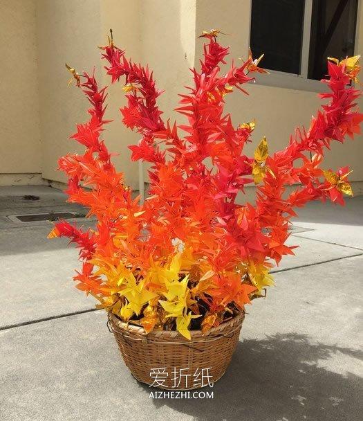 怎么折纸千纸鹤 做一个象征希望的火焰雕塑_爱折纸网 最新折纸方法