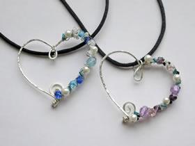 怎么做情人节爱心项链 金属丝制作心形项链坠