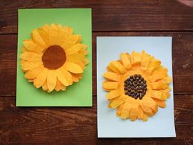 怎么简单做向日葵花 咖啡滤纸手工制作向日葵