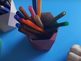 怎么简单手工折纸卡纸笔筒的折法图解