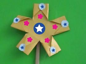 怎么做可爱花朵风车 手工纸风车的折法图解