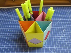 怎么手工折纸六孔笔筒的折法图解
