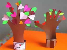怎么做创意母亲节贺卡 卡纸制作五指爱心树