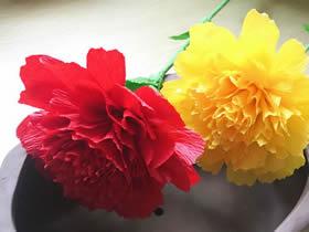 怎么用皱纹纸做母亲节康乃馨花的手工制作教程