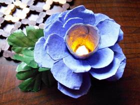 怎么用鸡蛋盒废物利用DIY制作玫瑰花灯的方法