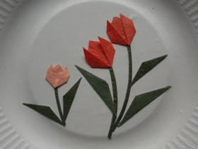 怎么简单折纸制作郁金香花拼贴画的方法图解
