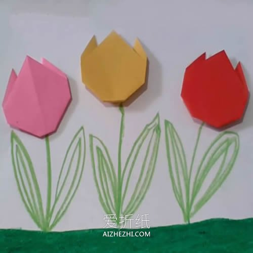 幼儿园最简单手工花朵_幼儿手工折纸教程 最简单郁金香花的折法图解_爱折纸网