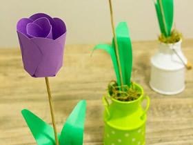怎么做卡纸郁金香花 简单手工制作教师节礼物