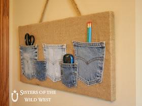 怎么把牛仔裤口袋改造成墙挂式收纳袋的方法