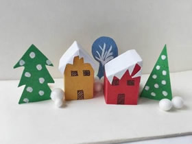 怎么手工做圣诞节雪后小镇纸模型的方法
