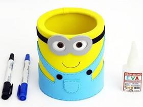 铁罐子废物利用 怎么手工做卡通小黄人笔筒